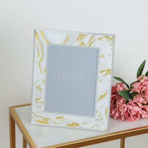 White & Gold Marbled Glass Photo Frame To Fit Photo size 6 x 8